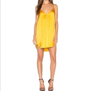 Michelle Mason Yellow Mini Silk Slip Dress